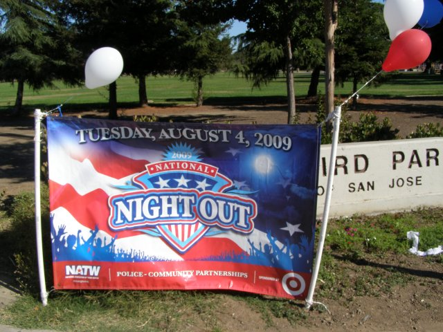 Image of the national Night Out banner at Starbird Park.